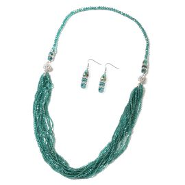 2 Piece Set  Emerald Colour Beads and White Austrian Crystal Multi Row Necklace and Hook Earrings