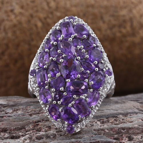 Amethyst and Natural Cambodian Zircon Cluster Ring in Platinum Overlay Sterling Silver 6.750 Ct. Silver wt 6.50 Gms.