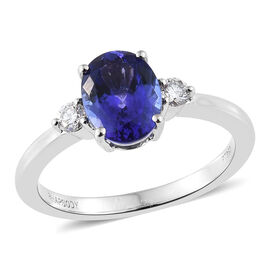 RHAPSODY 950 Platinum AAAA Tanzanite (Ovl), Diamond (VS/E-F)  Ring 2.250 Ct, Platinum wt 5.30 Gms
