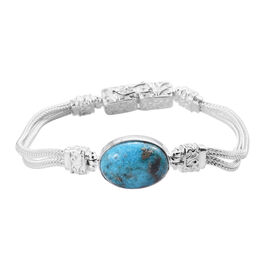 12.2 Ct Persian Turquoise Bracelet in Sterling Silver 17.68 Grams