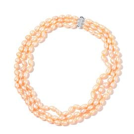 Fresh Water Peach Pearl (7-8mm) Triple Row Necklace (Size 18) in Rhodium Plated Sterling Silver