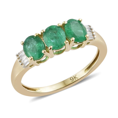 1.03 Ct AAA Kagem Zambian Emerald and Diamond 3 Stone Ring in 9K Gold
