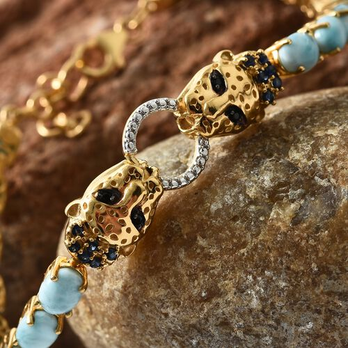 Larimar (Ovl), Kanchanaburi Blue Sapphire and Boi Ploi Black Spinel Panther Head Bracelet (Size 7.5 with 1 inch Extender) in Platinum and 14K Gold Overlay Sterling Silver 16.500 Ct