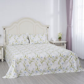 Serenity Night 4 Piece Set - Flower and Leaf Printed Microfibre 1 Flat Sheet (230x265cm), 1 Fitted Sheet (140x190+30cm) & 2 Pillowcase (50x75cm) in White & Blue