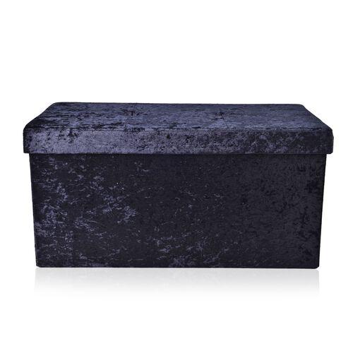 Black Colour Stylish Crushed Velvet Foldable Large Double Seater Storage Ottoman (Size 38x38x75 cm)