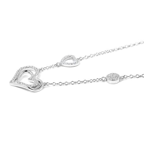 ELANZA Simulated Diamond (Rnd) Heart Necklace (Size 16) in Rhodium Overlay Sterling Silver.