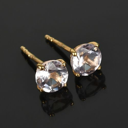 Pink Amethyst 2 Stone Push Post Earring in 14K Gold Overlay Sterling Silver 2.04 ct  2.040  Ct.