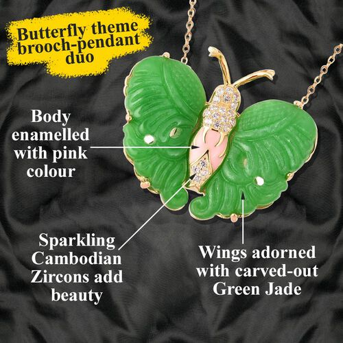 Carved Green Jade, Natural White Cambodian Zircon Butterfly Pendant with Chain (Size 18) or Brooch in Enamelling Yellow Gold Overlay Sterling Silver 27.15 Ct, Silver wt 8.36 Gms