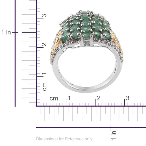 Limited Edition - Kagem Zambian Emerald (Rnd), Natural Cambodian Zircon Ring in Platinum and Yellow Gold Overlay Sterling Silver 3.750 Ct.