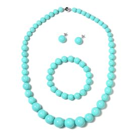 Turquoise Colour Shell Pearl (Rnd), Graduated Necklace (Size 20) with Magnetic Lock, Strechable Bracelet (Size 7) and Stud Earrings (with Push Back) in Rhodium Plated Sterling Silver