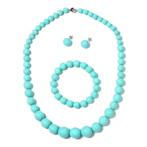 3 Piece Set - Turquoise Colour Shell Pearl (Rnd), Graduated Necklace (Size 20) with Magnetic Lock, Stretchable Bracelet (Size 7) and Stud Earrings (with Push Back) in Rhodium Plated Sterling Silver