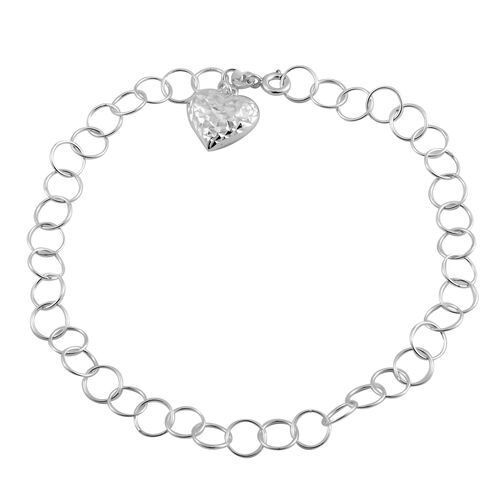 Sterling Silver Round Link Bracelet (Size Adjustable) with Heart Charm, Silver wt 4.00 Gms.