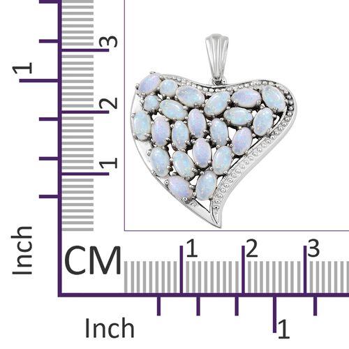 Australian White Opal (Ovl) Heart Pendant in Platinum Overlay Sterling Silver 3.000 Ct. Silver wt 5.19 Gms.