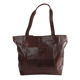 Assots London NADIA Womens Large Capacity Full Grain Leather Tote Bag (Size 47x34x14cm) - Brown
