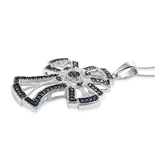 Blue Diamond (Rnd) Cross Pendant with Chain (Size 18) in Platinum and Blue Overlay Sterling Silver 0.330 Ct, Silver wt 5.000 Gms.