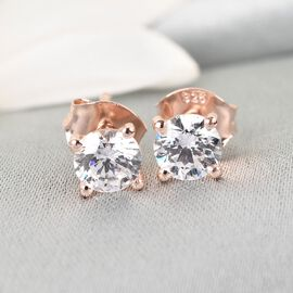 J Francis - Rose Gold Overlay Sterling Silver Stud Earrings (with Push Back) Made with SWAROVSKI ZIRCONIA 1.730 Ct.