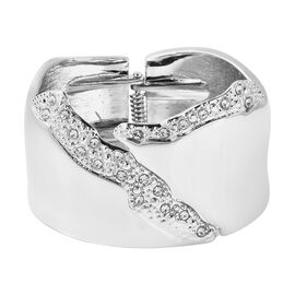 White Austrian Crystal Chunky Bangle (Size 6.5) in Silver Tone