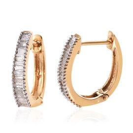 Diamond (Bgt) Hoop Earrings (with Clasp Lock) in 14K Gold Overlay Sterling Silver 0.500 Ct.