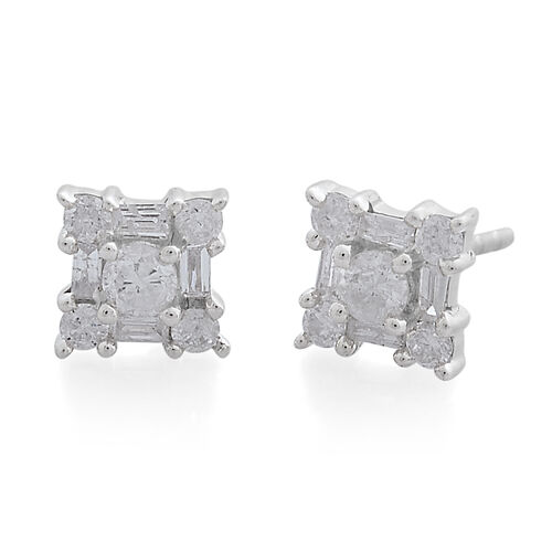 Limited Edition- 9K White Gold SGL Certified Diamond (Rnd) (I3/G-H) Earrings (with Push Back) 0.500 Ct.