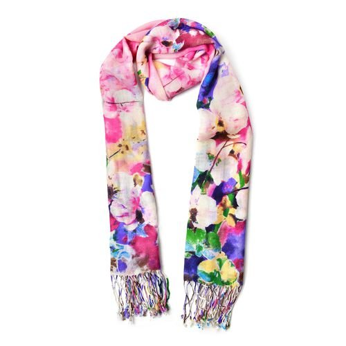 100% Wool Pink, Blue and Multi Colour Floral Pattern Scarf with Tassels (Size 184X68 Cm)