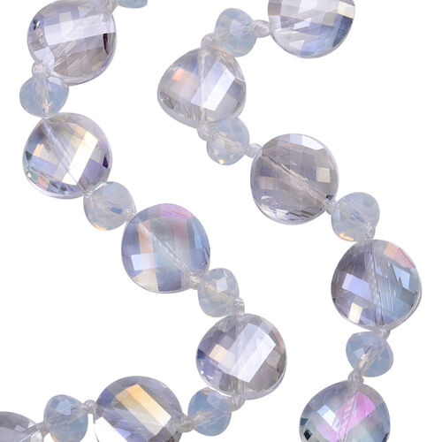 2 Piece Set - Simulated Mercury Mystic Topaz and Simulated Opalite Hook Earrings and Necklace (Size 20)