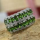 Russian Diopside (Ovl), Natural Cambodian Zircon Ring (Size N) in Platinum Overlay Sterling Silver 3.50 Ct.