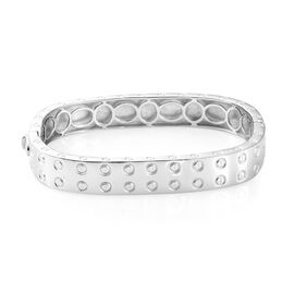 High End Designer Inspired -Platinum Plated Bangle (Size 7.75) with Screw Texture Pattern