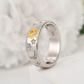 Yellow Sapphire and Natural Cambodian Zircon Band Ring in Sterling Silver