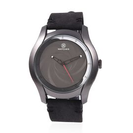 STRADA Japanese Movement Water Resistant Black Dial Watch with Black Strap