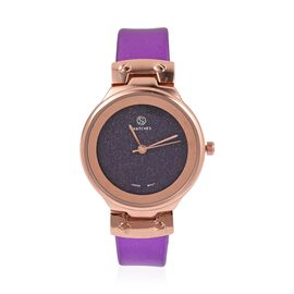 STRADA Japanese Movement Water Resistant Watch with Amethyst Colour Strap