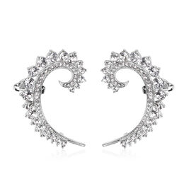 White Austrian Crystal Earrings in Silver Tone