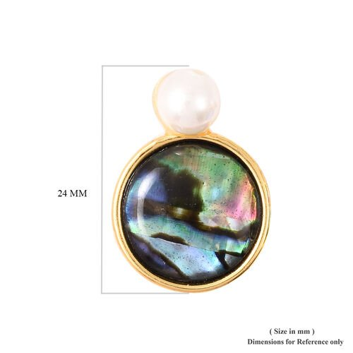 Abalone Shell and Simulated Pearl Earrings in Yellow Gold Tone