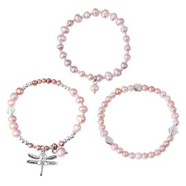 Set of 3 - Freshwater Purple Pearl Stretchable Bead Bracelet with Charm (Size 7)