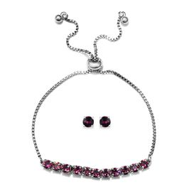 J Francis - 2 Piece Set - Crystal From Swarovski Amethyst Colour Crystal (Rnd) Adjustable Bolo Brace