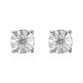 Diamond (Rnd) Stud Earrings (with Push Back) in 14K Gold Overlay Sterling Silver