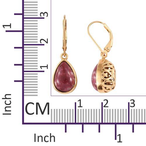 Norwegian Thulite (Pear) Lever Back Earrings in 14K Gold Overlay Sterling Silver 7.250 Ct