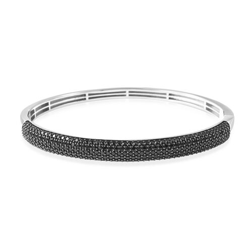 Natural Boi Ploi Black Spinel (Rnd)  Bangle (Size 7.5) in Rhodium and Black Overlay Sterling Silver.