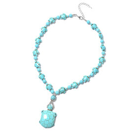 253 Ct Blue Howlite Turtle Design Necklace in Silver Tone 20 Inch