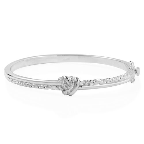 RACHEL GALLEY Lattice Twist Knot Bangle in Rhodium Plated Silver 27.76 Grams in Size 7.5 Inch