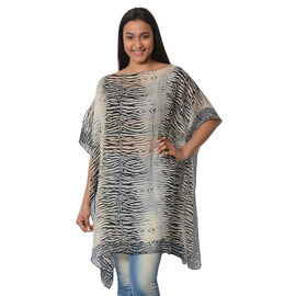 100% Mulberry Silk Kaftan One Size (90x100 Cm) - Black and Off White