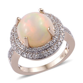 4 Carat AA Ethiopian Welo Opal and Natural Cambodian Zircon Halo Ring (Size P) in 9K Gold 4.45 Grams