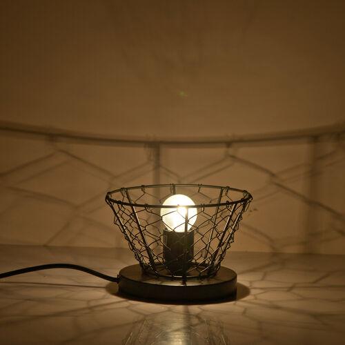 Natural Pink Himalayan Rock Salt Basket Lamp - With 1.6KG Salt Bag - Bowl