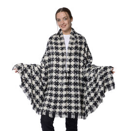 Winter Christmas Special- Designer Inspired Checkers Scarf (Size 200x95cm)- Black and White