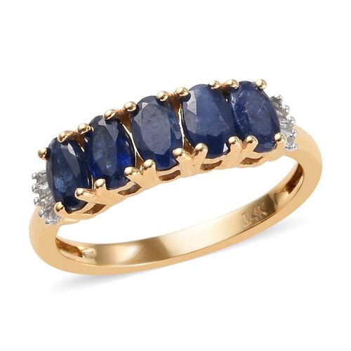 1.56 Ct Burmese Blue Sapphire and Diamond 5 Stone Ring in 14K Gold 2.30 Grams I2 GH