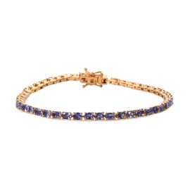 7 Carat Tanzanite Tennis Bracelet in 14K Gold Plated Sterling Silver 8 Grams 8 Inch