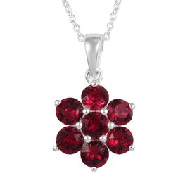 J Francis - Crystal from Swarovski Ruby Colour Crystal (Rnd) Floral Pendant with Chain (Size 18) in
