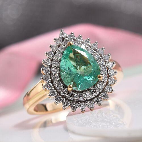 ILIANA 18K Yellow Gold AAA Boyaca Colombian Emerald and Diamond (SI/G-H) Ring 1.78 Ct, Gold wt 7.00