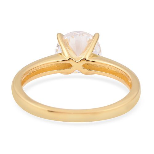ELANZA Simulated White Diamond Star Cut (Rnd 8mm) Solitaire Ring in Yellow Gold Overlay Sterling Silver