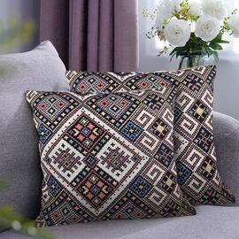 Set of 2 - Turkish Kilim Pattern Cushion Covers - Grey and Multi