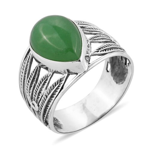 Royal Bali Collection Green Jade (Pear) Ring in Sterling Silver 6.655 Ct.